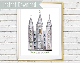 Instant Download Salt Lake Temple Watercolor Art Print, Printable, Painting, Art, Wall Decor, Illustration, LDS Temple, Wedding Gift