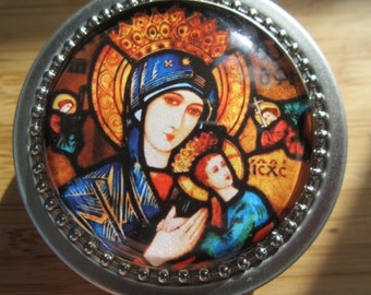 Item # 24 ~ Our Lady of Perpetual Help Rosary case First Communion boy girl Baptism or Confimation gift Mothers day gift stained glass image
