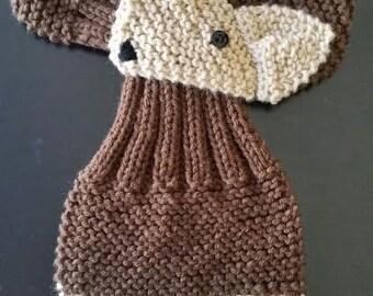 Adjustable Fox Scarf,  Hand Knit neck warmer Dark Chocolate  Brown