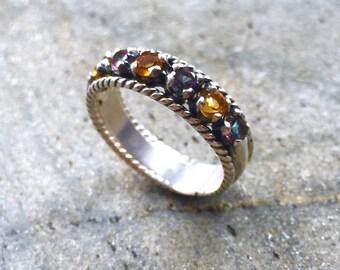 Half Eternity Ring, Bezel Ring, Vintage Citrine Ring, Citrine Ring, Topaz Ring, Mystic Topaz, Solid Silver Ring, Sterling Silver Ring