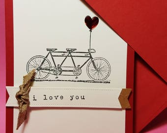 Handmade  Tandem  I Love You Card - Greeting Card-  Anniversary Card-  Bike Double Couple - Tandem Bicycle Card- Just Because Card