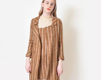 1960s Striped Linen Dress and Jacket Set 60s Vintage Brown Shift Dress Mod Twiggy XS S