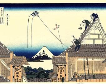"Japanese Ukiyo-e Woodblock print, Hokusai, ""A sketch of the Mitsui shop in Suruga in Edo"""