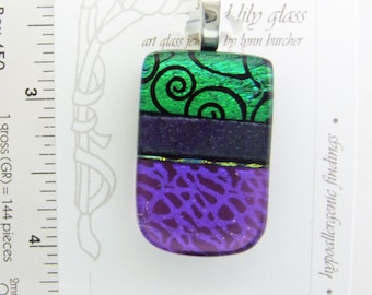 Purple Spiral Small Pendant, Handmade Fused Glass Jewelry