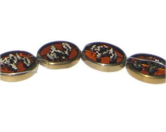 20 x 16mm Deep Gold Vintage-Style Etched Glass Bead, approx. 4 beads
