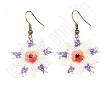 Oya Needle Lace Earrings White Purple and Pink Flower