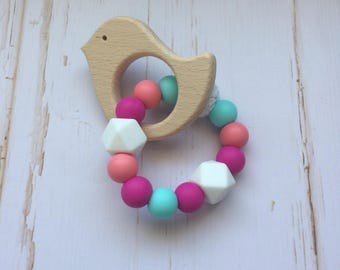 Teething toy - silicone teething toy - bird teething toy - wood teething toy - baby shower gift - new mom