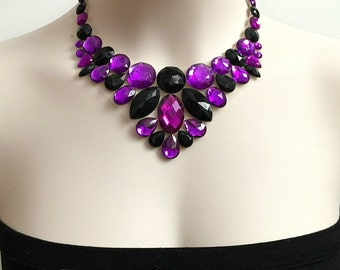 jet black and amethyst purple rhinestone tulle bib necklace