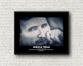 Nikola Tesla Print - Brilliant Man...great gift idea! - 11x14 - Ready To Ship