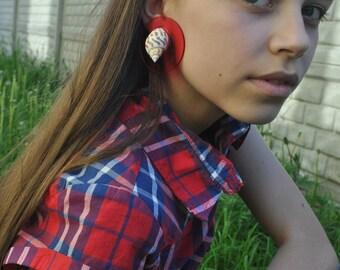 Sirena yellow Red clip on Earrings Shell Bon bons earrings,Les Bonbons shell, Sea Shell,Shell on Disk Earrings