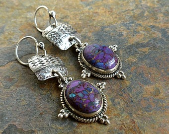 Purple Turquoise in Native Silver Setting/Tribal Stamped Sterling Silver/Textured Silver . Rustic Southwest Boho Tribal Style Jewelry