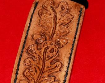 "Custom Knife Sheath - Hunting Knife & Hand Carved  Veg Tan Leather Sheath - 12"" Fixed Blade Hunting Knife"