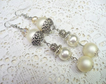 OOAK Vintage White/Ivory PEARL Crystal Dangles - vintage WEDDING - Bridal Earrings - Pierced - silver tone metal - gold accent crystal