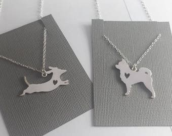 Dog necklace, dog silhouette, pet pendant,  dog outline, jewelry, boston terrier, pet jewelry, cat necklace