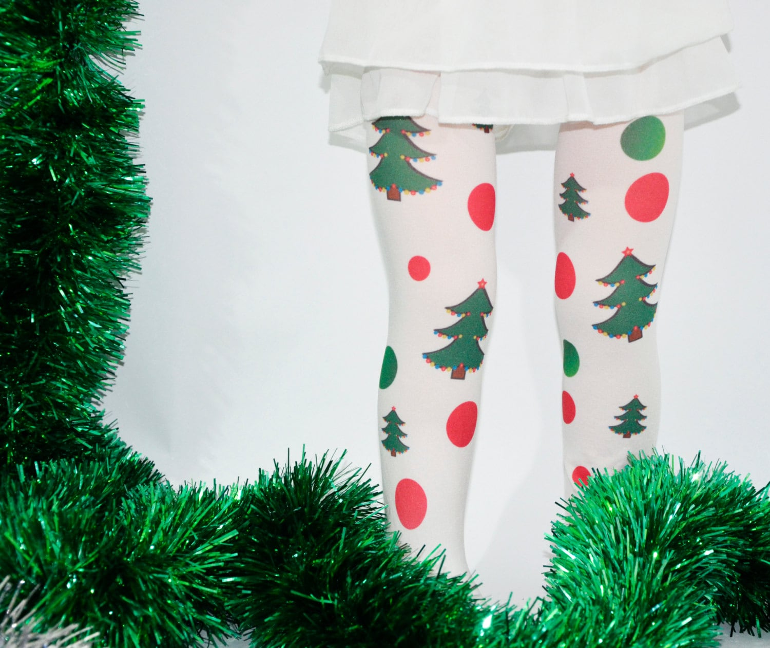 Christmas Kids Tights Xmas Tights Stockings Green Red