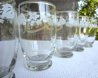 Vintage White Gooseberry Juice Glasses set of 7