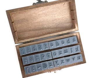 alphabet rubber stamp - stationey stamp - wedding diy favor stamp - wooden stamp - cardmaking stamp - scrapbooking stamp - lowercase stamps