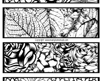 Floral Coloring Bookmarks With 4 Designs , flower coloring page, leaf coloring bookmark, Rose bookmark - Instant Download