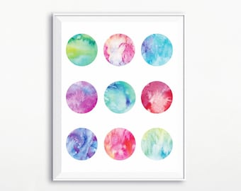 Watercolor Circles Print, Printable Art, Watercolor Art, Modern Print, Modern Watercolor Print, Modern Poster, Watercolor Poster, Wall Art