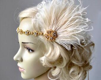 Gold Clip and Headband, The Great Gatsby Headband 1920s  Flapper Feather Headband headpiece Gold, Champagne rhinestone Fascinator Hair Clip