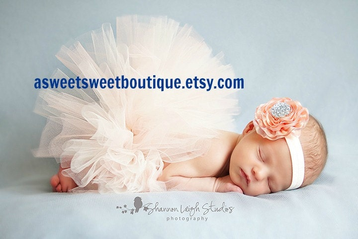 Newborn tutu baby tutu sweet peaches and cream tutu set newborn tutu set with matching vintage headband stunning newborn tutu photo prop