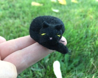 Miniature Needle Felted Black Cat Sleeping