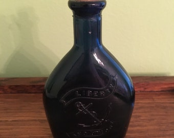 Vintage Liberty and Union Blue Bottle with Cork Made in Japan