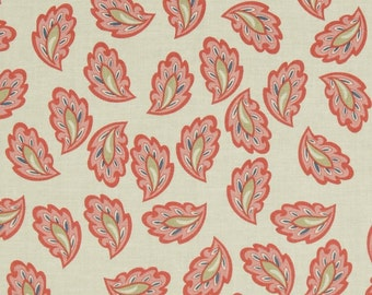 Vintage Verona Coral, Riley Blake Quilting Fabric, Tossed Coral Leaves on Cream Fabric