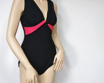 Vintage Swimsuit Bathing Suit Black Bathing Suit Swimwear Swim Suit Hot Pink Accent One Piece V Neck Size 12