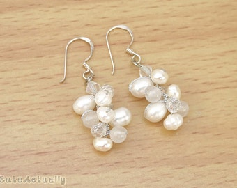 White freshwater pearl earrings with stone and crystal - sterling silver ear wires, wedding jewelry, bridal earring