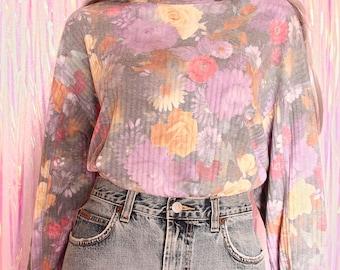 Rare 90s LA ANNEX Pastel Grunge Top - Pastel Goth, 90s Pastel Grunge Sweater, 90s Clothing, 90s Grunge, Grunge Clothing, 90s Vintage, Floral