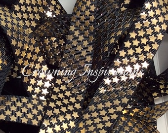 7/8  Gold Foil Stars on Black Patriotic US Designer Ribbon