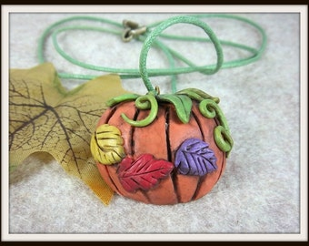 Pumpkin Pendant, Polymer Clay, Orange Pumpkin, Fall Leaves, Fun For Fall, Red Yellow Purple, Harvest Time