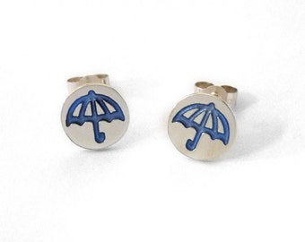 Round Umbrella Studs - Earrings - Gift for Her - Weather - Handmade - Silver - Jewellery