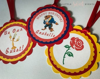 Beauty and the Beast Favor Tags, Beauty and the Beast Birthday, Beauty and the Beast Party Supplies