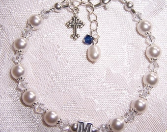 Custom Initial Bracelet with Swarovski Pearls and Crystals