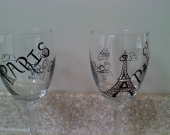 Hand painted pair of Paris themed wine glasses