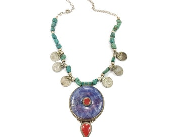 20% OFF Minerva necklace (PURPLE JASPER) - Natural raw Morenci turquoise & Banjara coins with large statement pendant with red accents