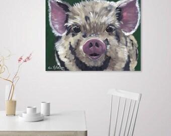 Pig art, Canvas pig print. Pig prints, Pig on canvas.  Pig art print from original Pig on canvas painting. Pig art on canvas