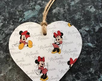 Disney Minnie Mouse Decoupaged wooden hanging heart plaque nursery decoration