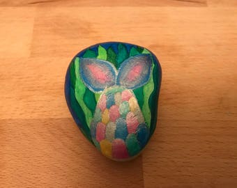 Hand painted mermaid's tail pebble