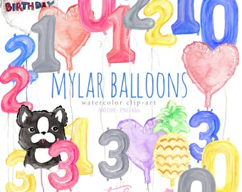 Watercolor Clip Art Mylar Balloons Set, Party, Floating, Helium, Birthday, Occassion, Fun, Colorful, Dog, Pineapple, Rainbow, Decorations