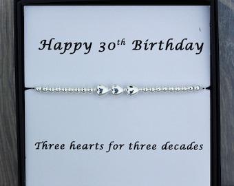 30th Birthday Silver Bracelet