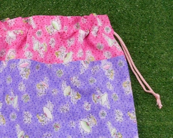 Fairies purple drawstring bag for girls, library bag, toy bag or storage bag