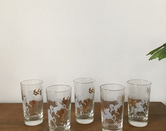 1960s regency gold unicorn highball glasses