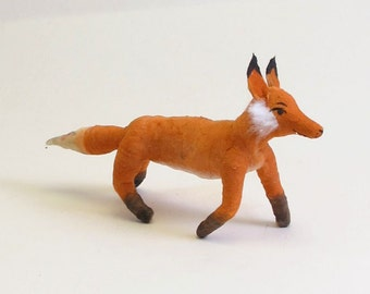 Spun Cotton Vintage Inspired Fox Ornament/Figure (MADE TO ORDER)