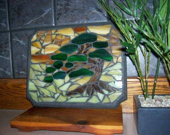 "Bonsai Tree, Stained Glass Mosaic, Sculpture, Japanese, Nature, Moss, Home Decor, Wall Hanging, Tree, Sunrise, ""Sunset Beneath the Bonsai"""