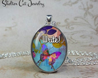 Write! Butterfly Necklace - Watercolor - Oval Pendant or Key Ring - Handmade Wearable Photo Art Jewelry - Nature Art - Gift for her