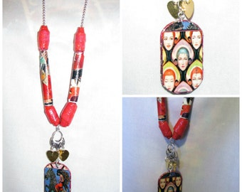 Reversible Art Deco Necklace Rustic Jewelry