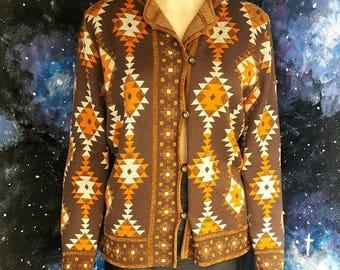 VINTAGE 1990s Brown & Orange Navajo Print Cardigan Top by Country Casuals MEDIUM